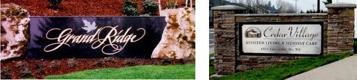 Grand Ridge & Cedar Village Signs